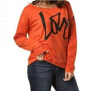 """LOVE"" Orange Pullover"